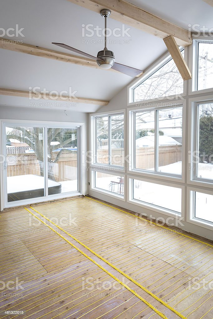 Electric Radiant Floor Heat Installation Cable stock photo