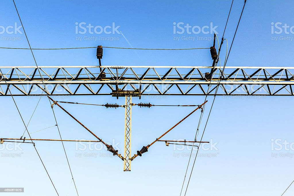 Electric Railways with overhead power line. stock photo