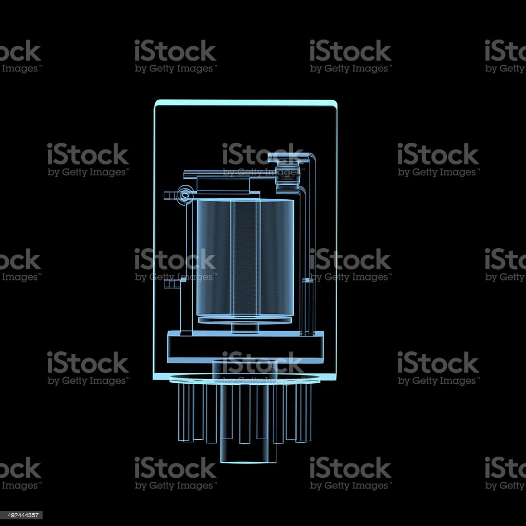Electric relay x-ray blue transparent isolated on black stock photo