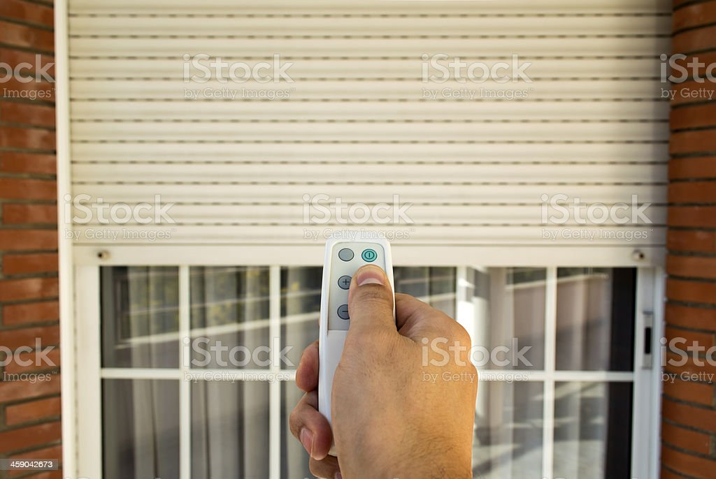 electric roller shutter stock photo