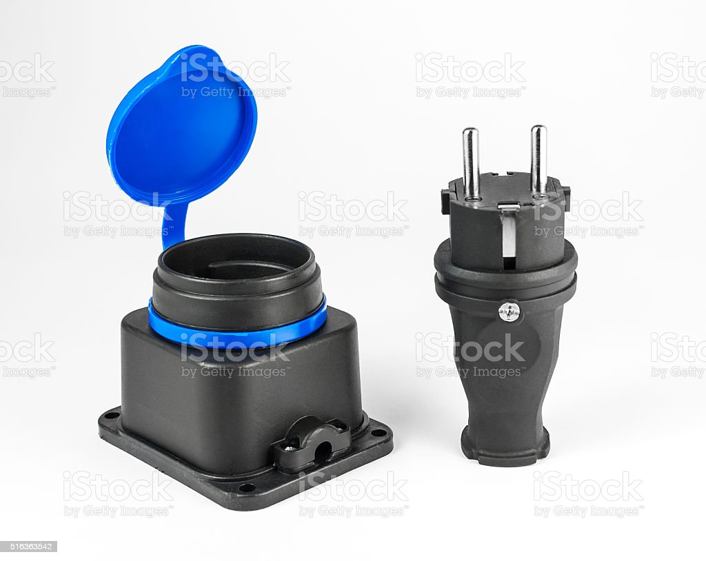 Electric rubber plug with socket stock photo