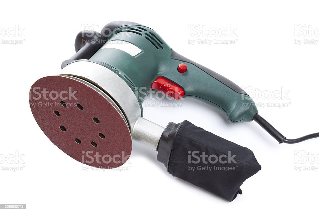 Electric sandpaper tool for home handyman use, isolated over . stock photo