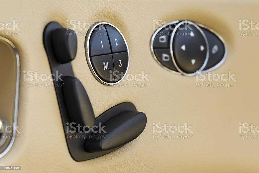 electric seat adjustment with memory stock photo