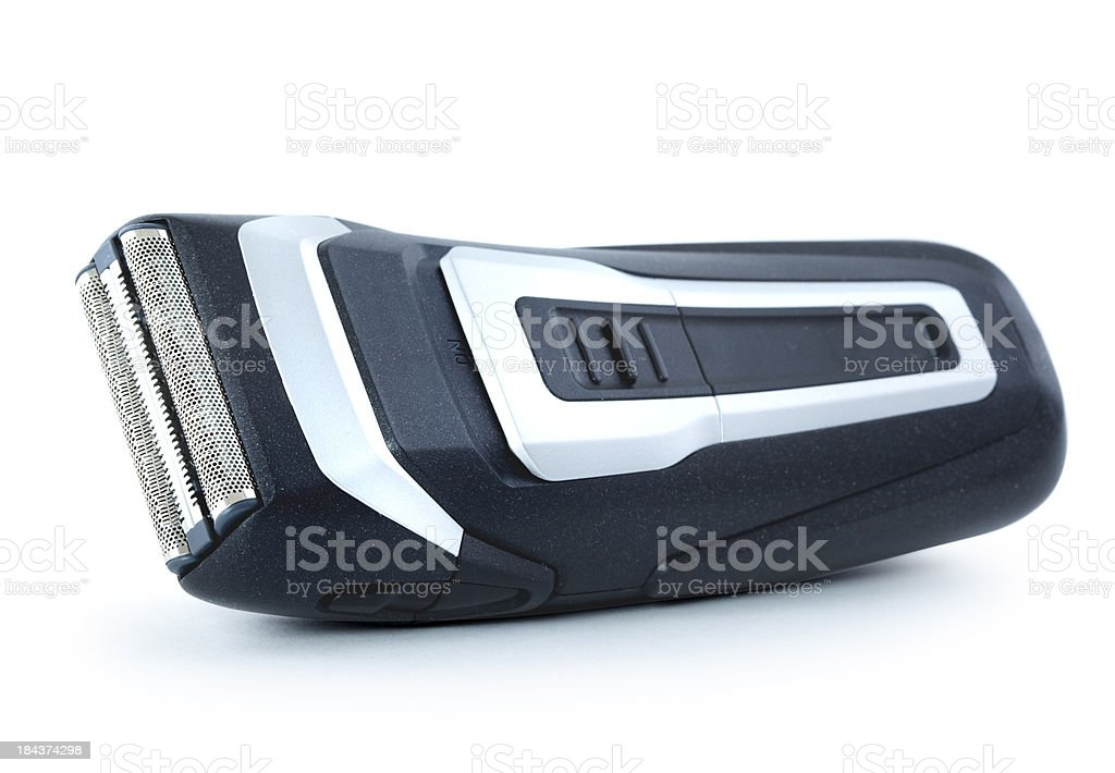 Electric shaver close up on white background stock photo