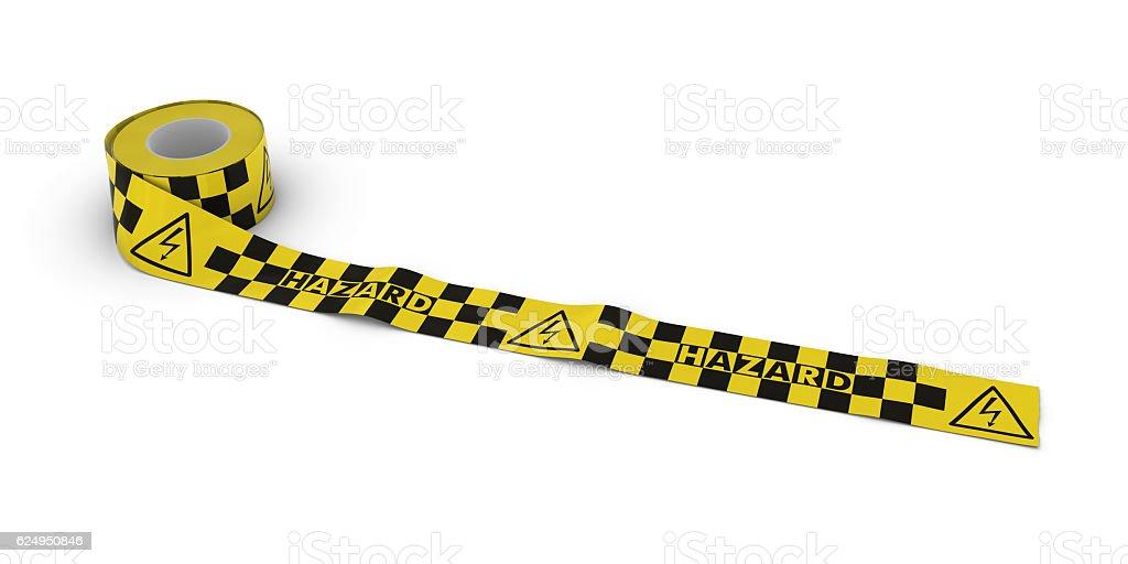 Electric Shock Hazard Tape Roll unrolled across white floor stock photo