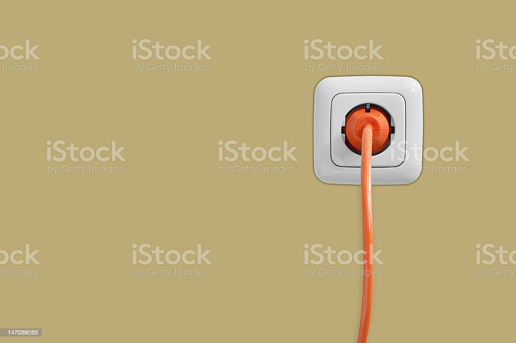 Electric socket with connected cable royalty-free stock photo