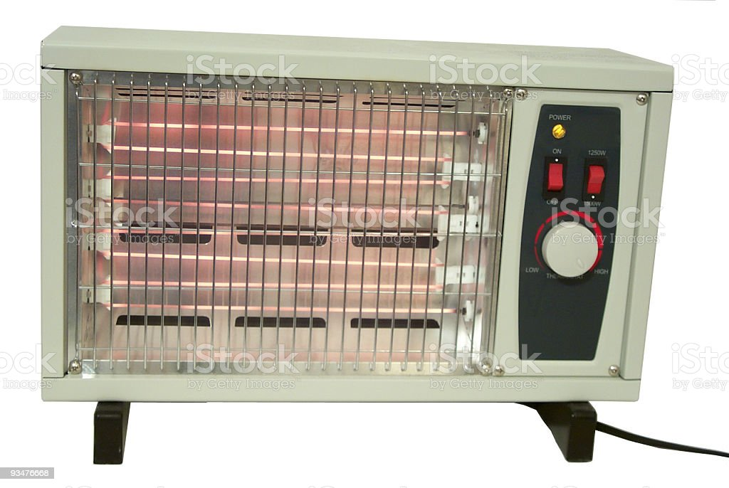 Electric space heater on white background stock photo