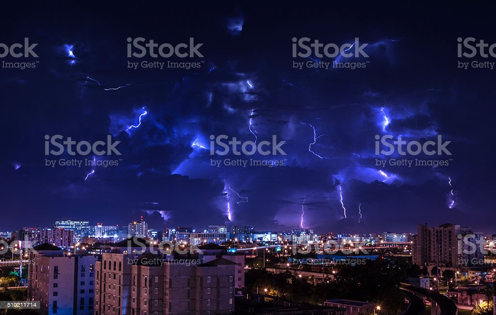 Electric Storm over Miami stock photo