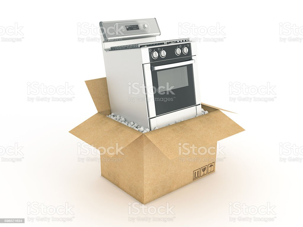 electric stove in cardboard box stock photo
