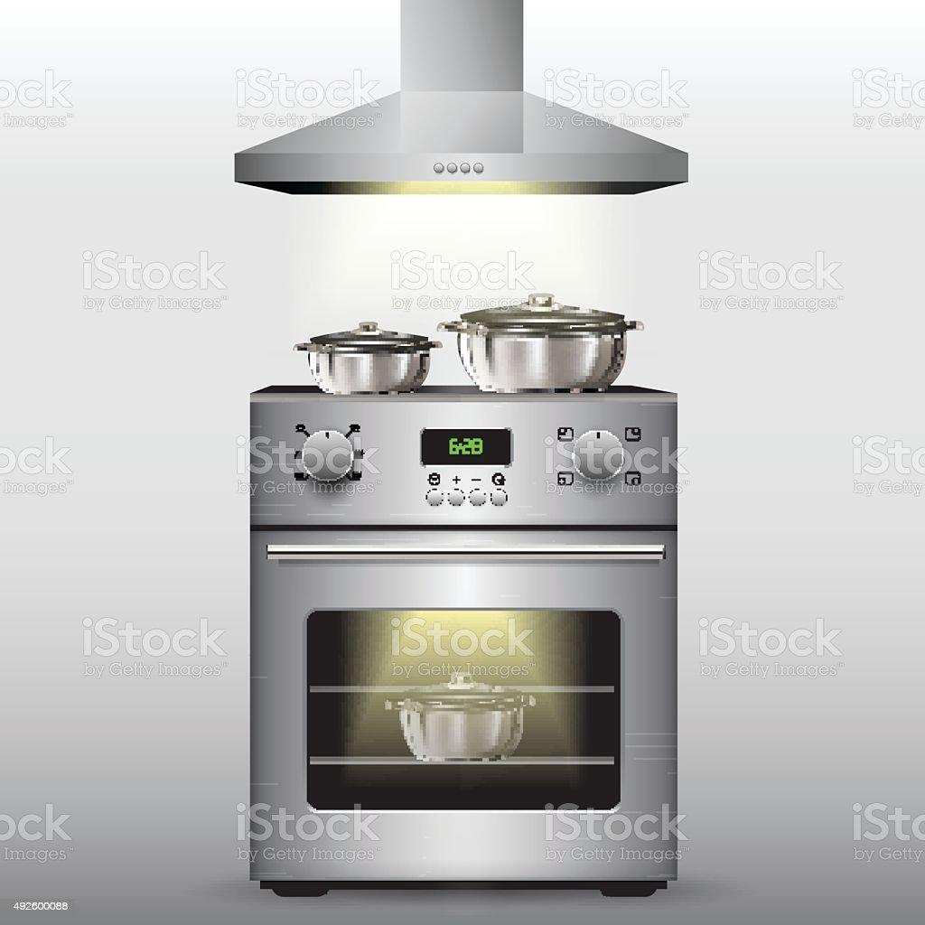 Electric stove vector art illustration
