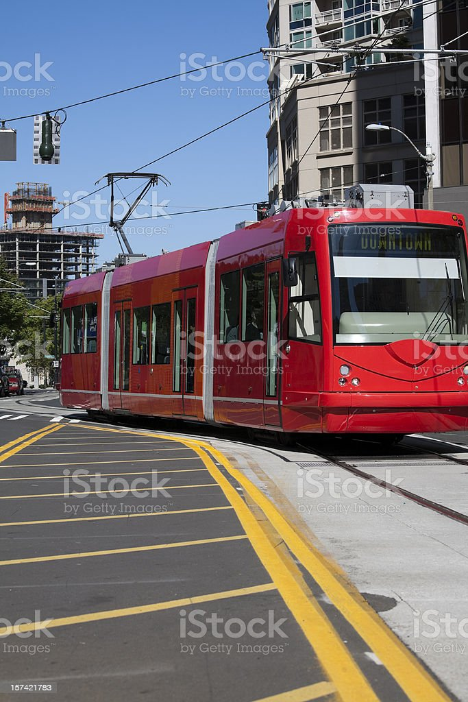 Electric street car in Seattle Washington stock photo