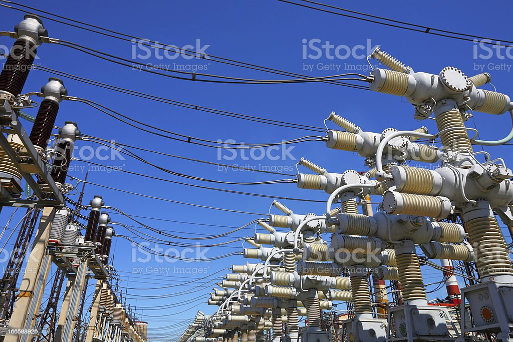 Electric substation in a bright sunny day royalty-free stock photo