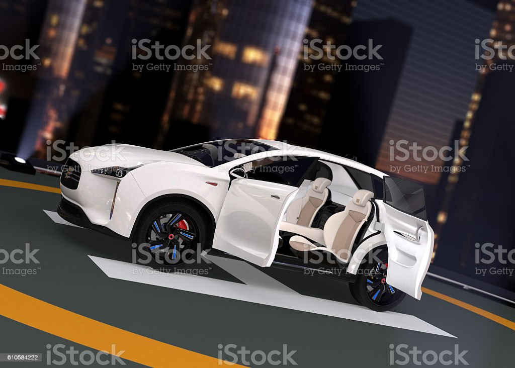 Electric SUV parking on the helipad stock photo