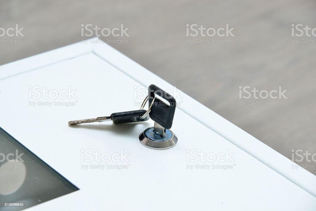 electric switch box with keys stock photo