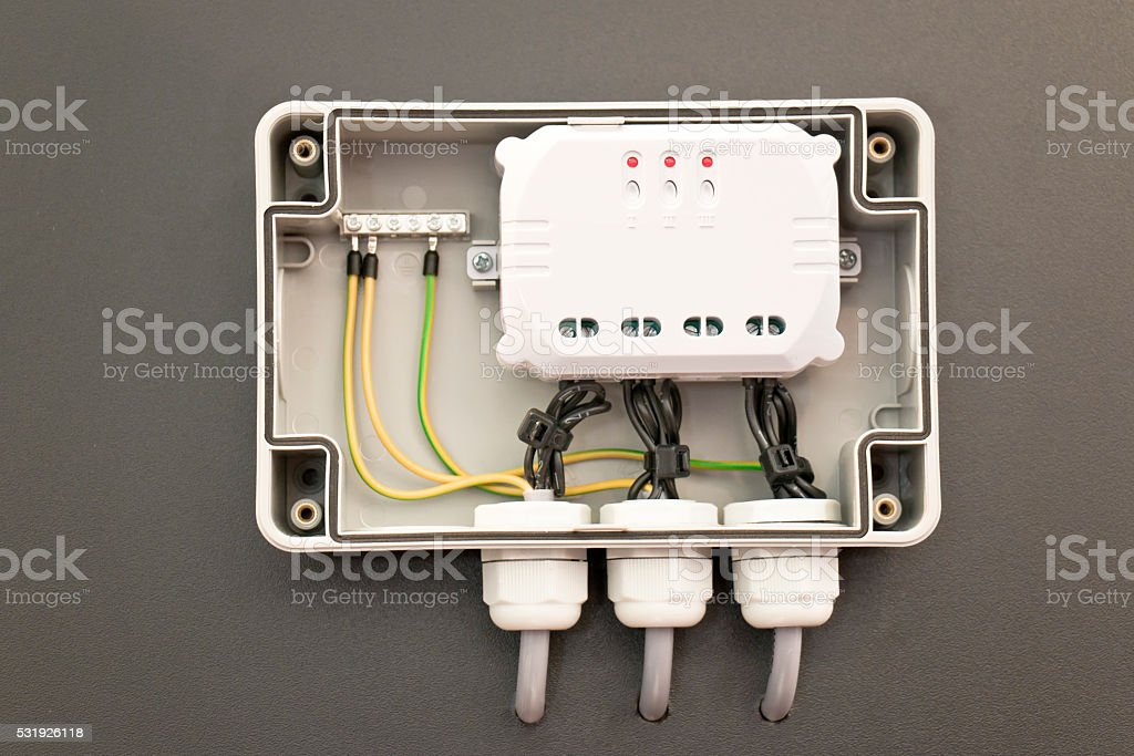 Electric Switchboard Socket stock photo