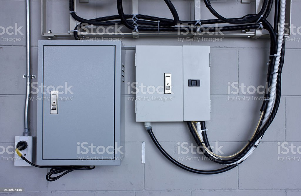 electric system in cabinet  building system stock photo