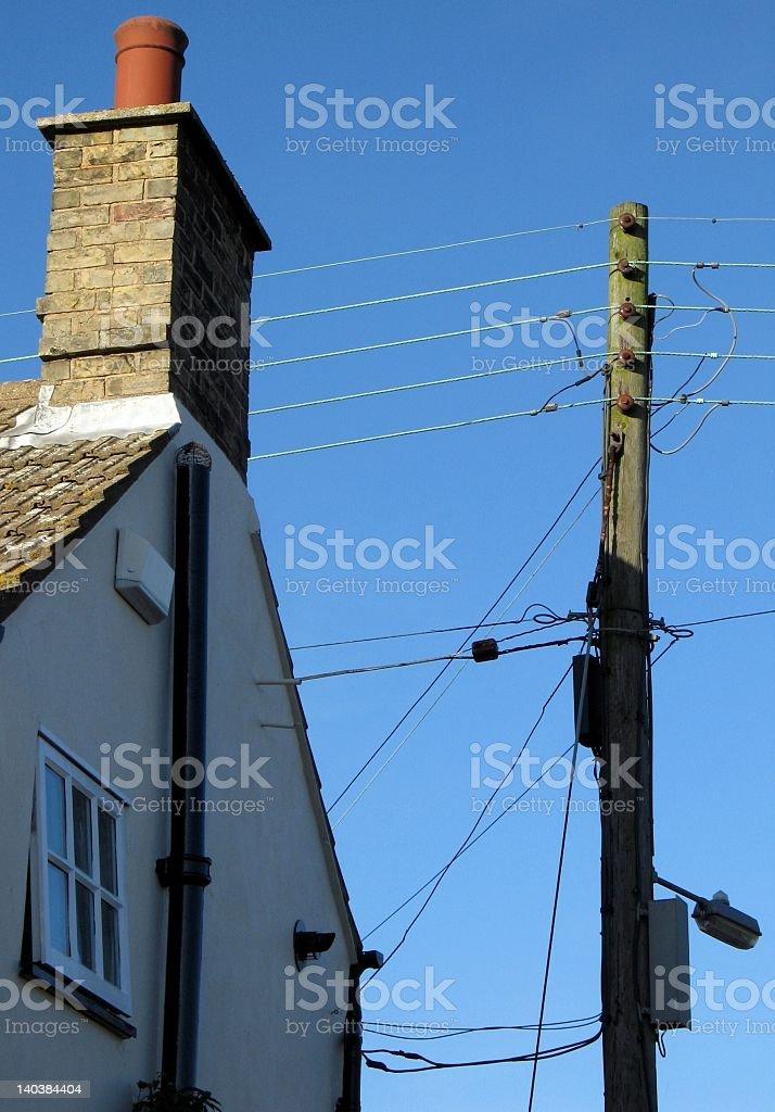 Electric Telegraph pole in Village stock photo