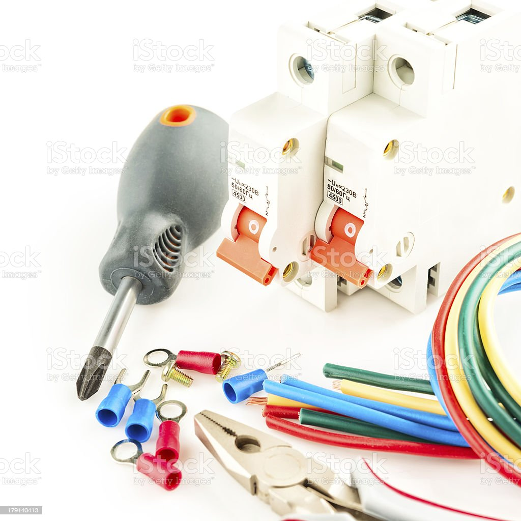 electric tools on white background royalty-free stock photo