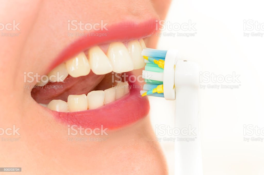 Electric toothbrush head stock photo