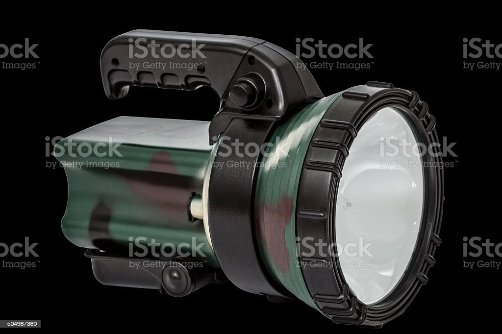 Electric torch, isolated on black, with clipping path stock photo