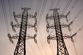 Electric towers. Sepia toned background
