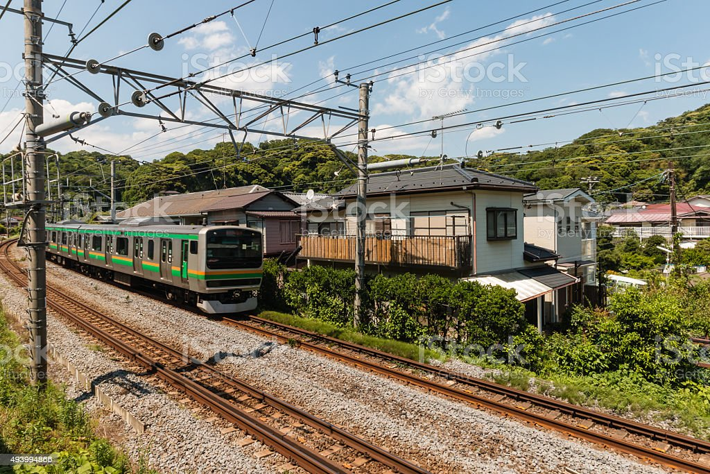 electric train approaching in Japan stock photo