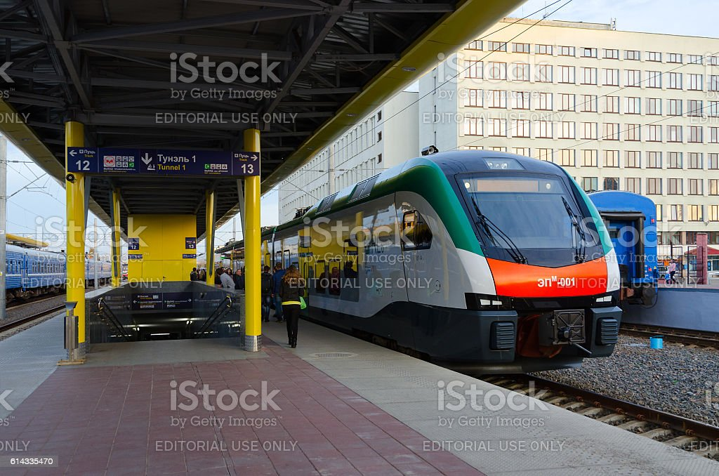 Electric train business class of company Stadler, Minsk, Belarus stock photo