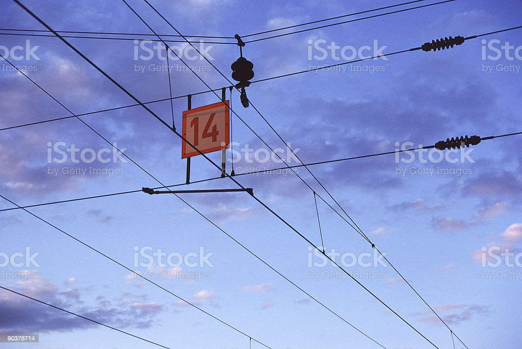 Electric Train Wires stock photo