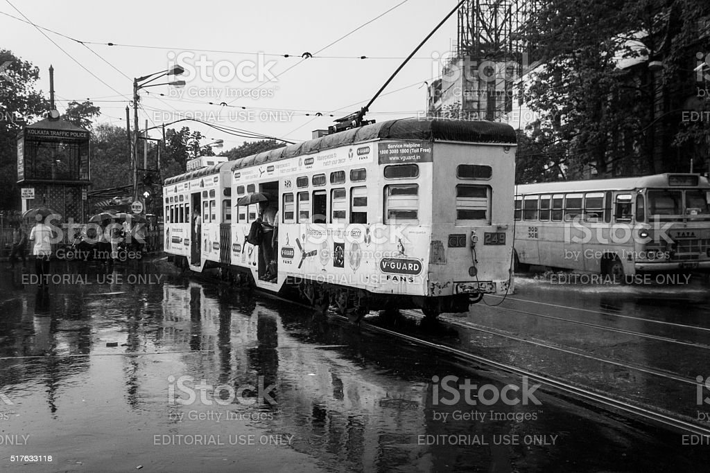 Electric Tram in black and white stock photo