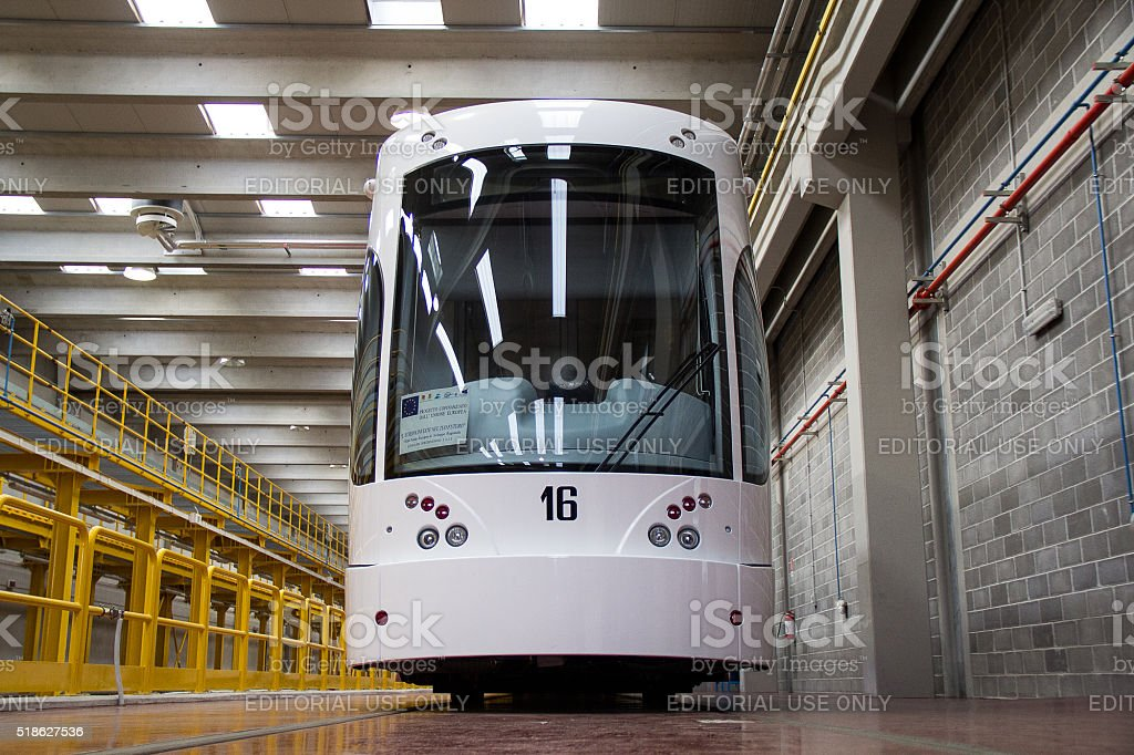 Electric Tram in Palermo stock photo