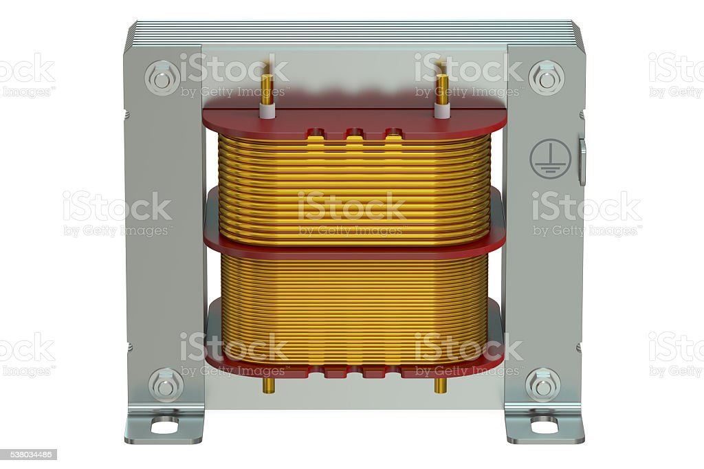 Electric transformer closeup, 3D rendering stock photo
