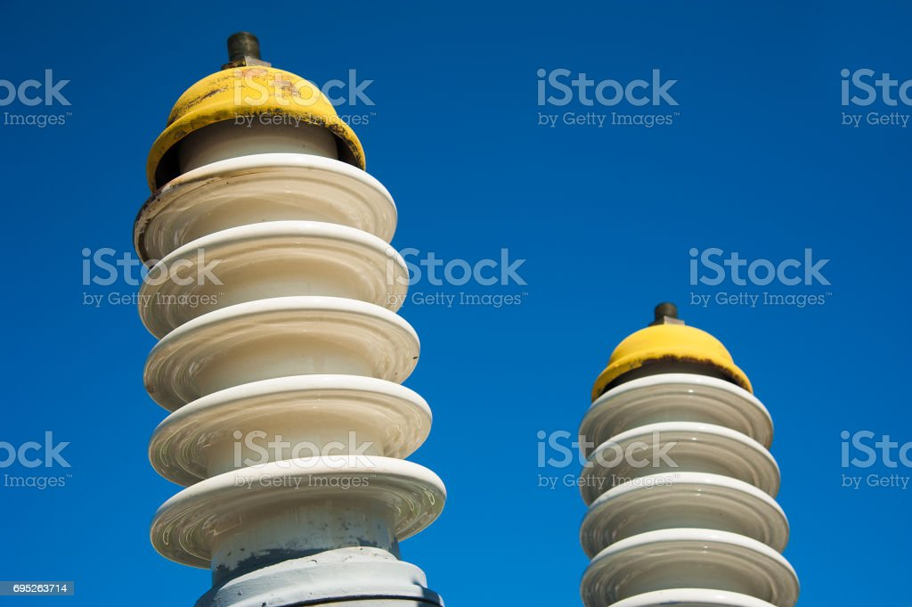 Electric transformer station stock photo