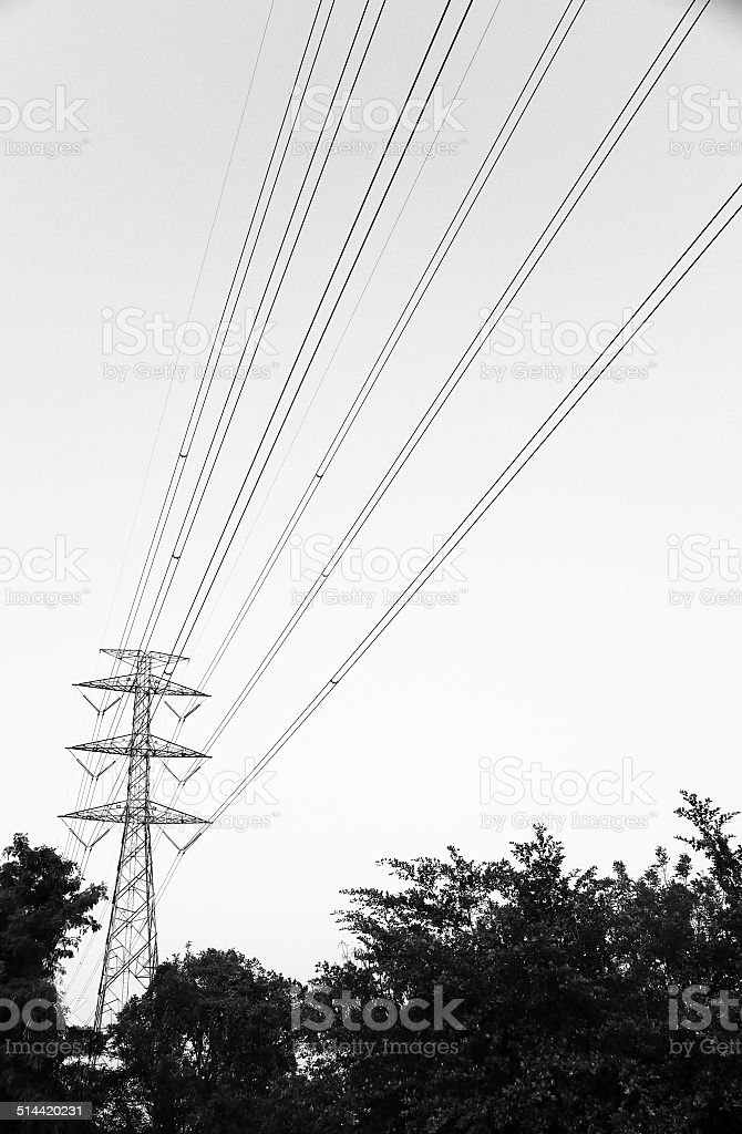 Electric Transmission Tower and line stock photo