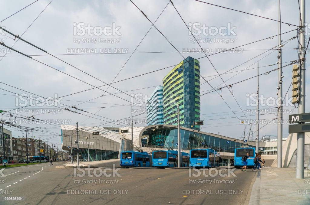 Electric Trolley buses stock photo