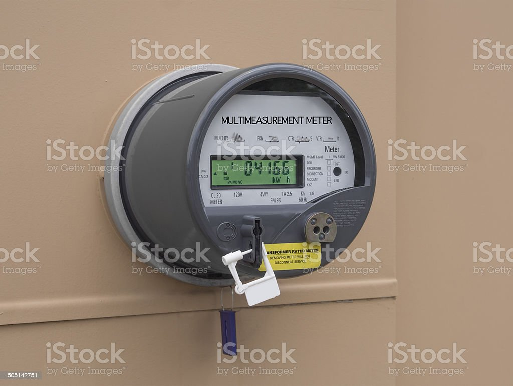 Electric utility meter stock photo