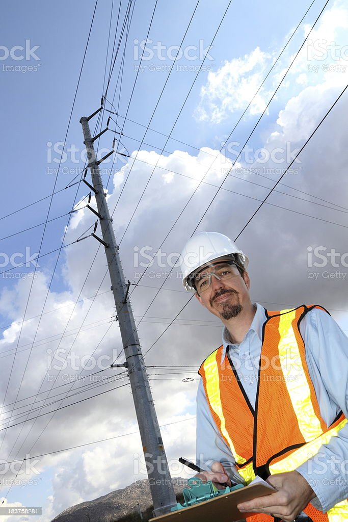 Electric Utility Technican Smiles royalty-free stock photo