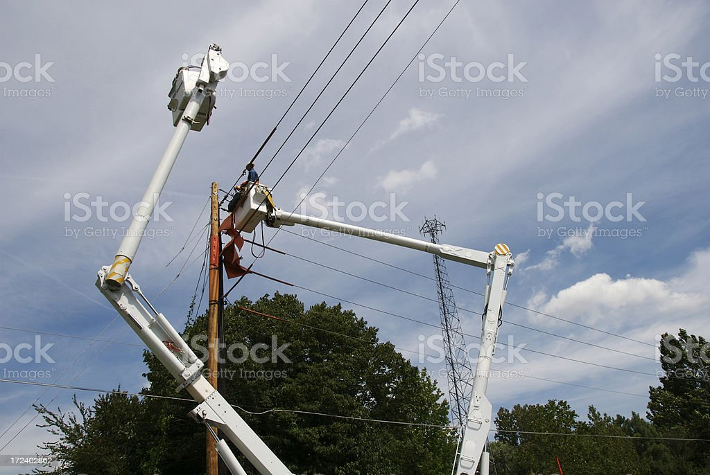 Electric Utility Workers royalty-free stock photo