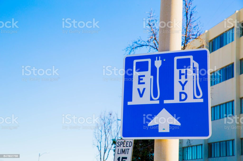 Electric Vehicle and Hydrogen Fueling Charging Station Renewable stock photo