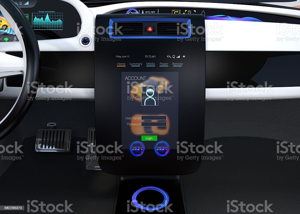 Electric vehicle center console concept stock photo