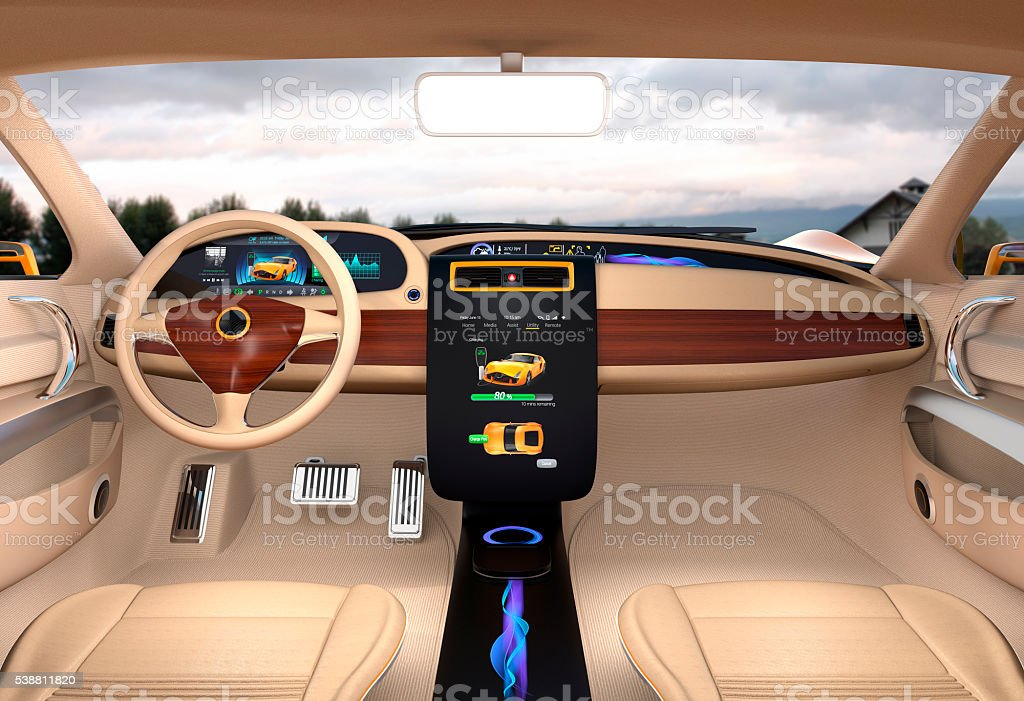Electric vehicle center display showing charging information stock photo