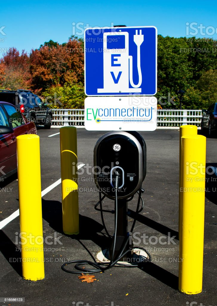 Electric Vehicle Charging Station stock photo