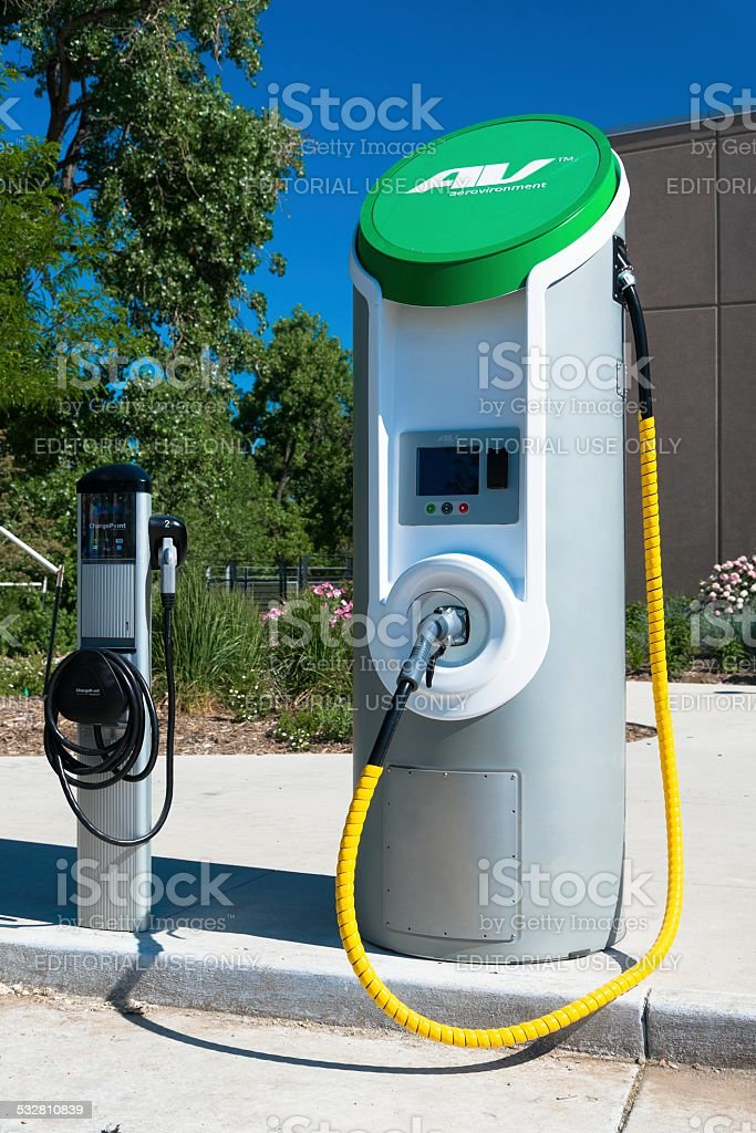 Fort Collins, Colorado, USA - June 18, 2013: A Charging Station for...