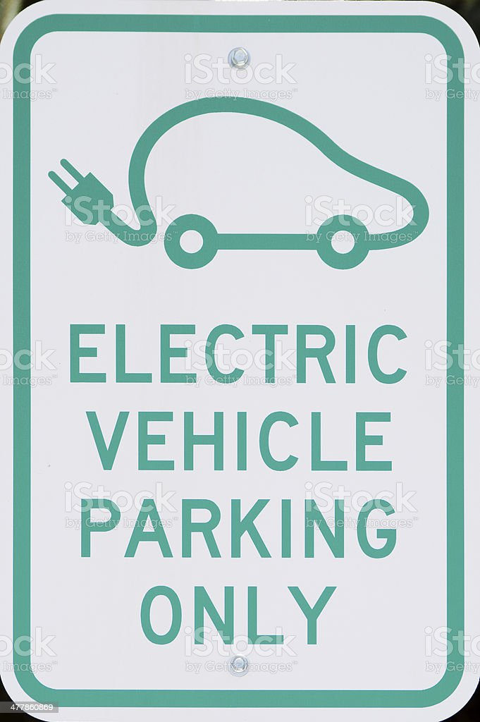 Electric Vehicle Parking Sign stock photo