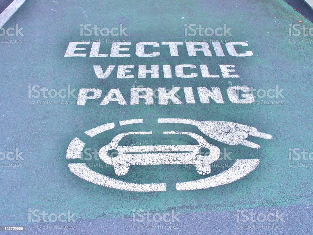 Electric vehicle parking space stock photo