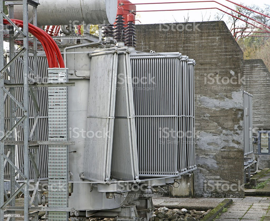 electric voltage transformer of a powerful power plant stock photo