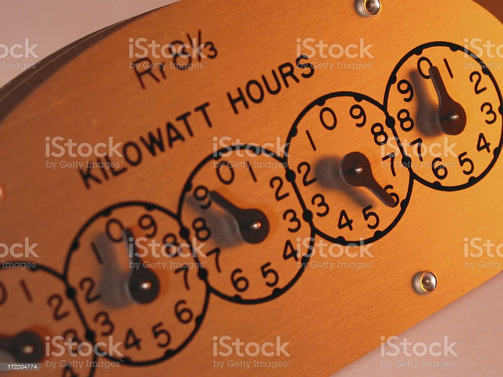 electric watt meter register stock photo