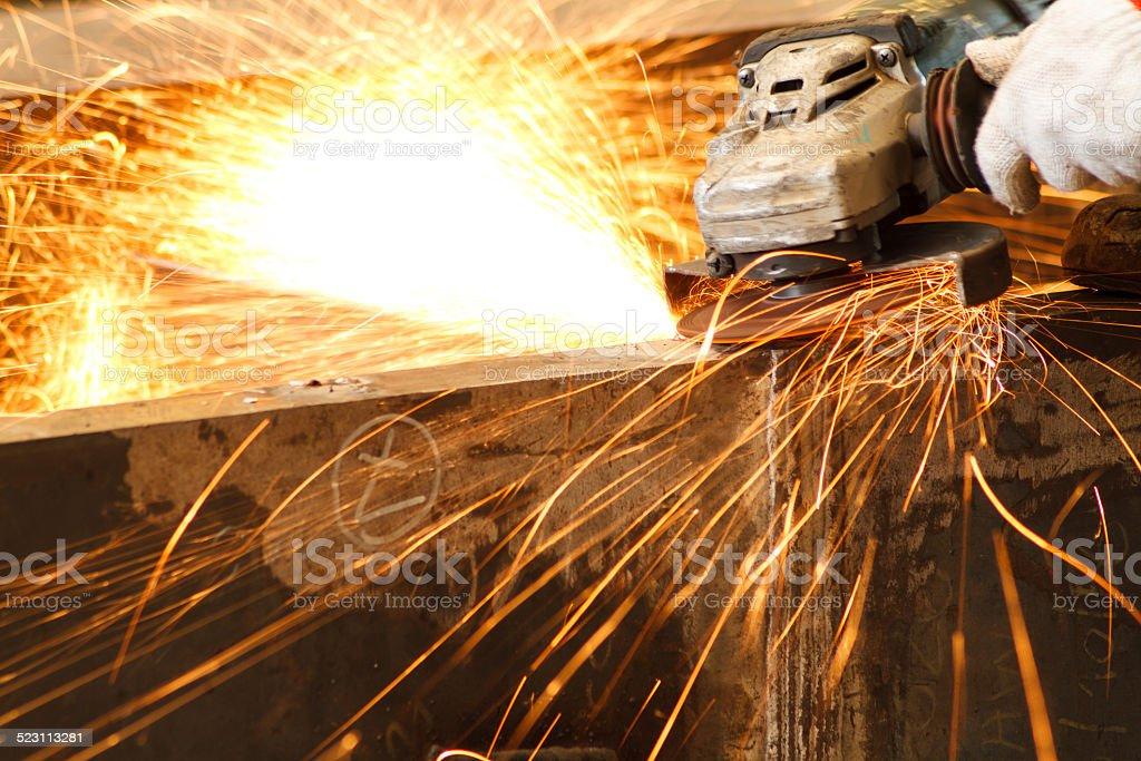 Electric wheel grinding stock photo