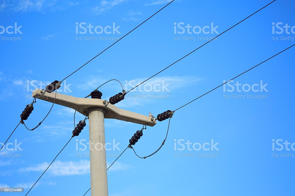 Electric wire on the pole, power stock photo