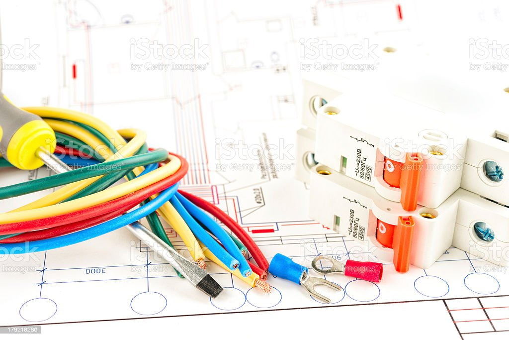 Electric wires and switches with diagrams stock photo