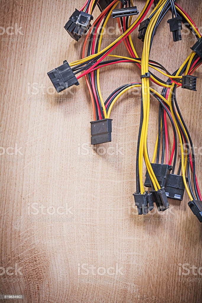 Electric wires on wooden board electricity concept stock photo
